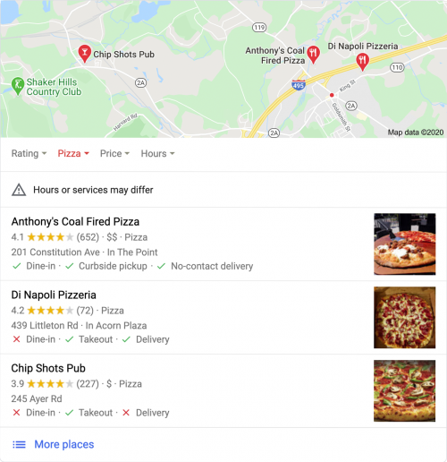 "Google's Local SEO SERP When Searching ""Restaurants Near Me"""